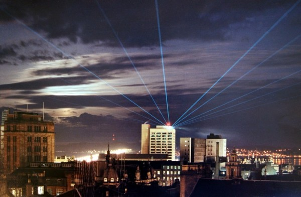 Lasers over Dundee celebrating Dundee's 500 years
