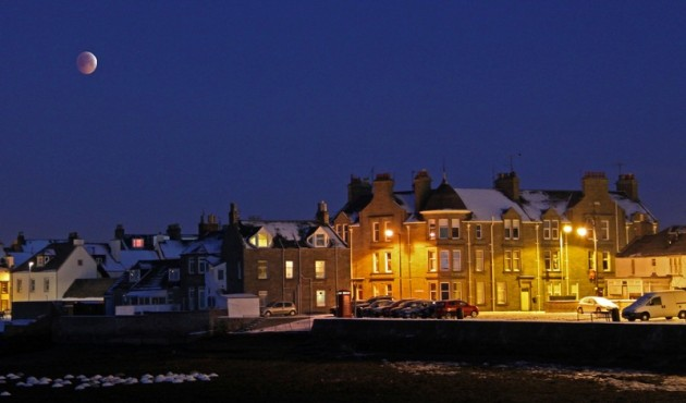 Winter Solstice Lunar Eclipse over Broughty Ferry, Dundee used in Broughty Ferry Trader's Association 2015 calendar
