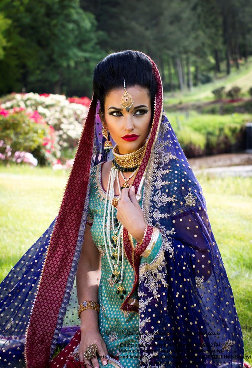 Asian Bride at Harburn House Country Estate in West Lothian with model Elaine Harris