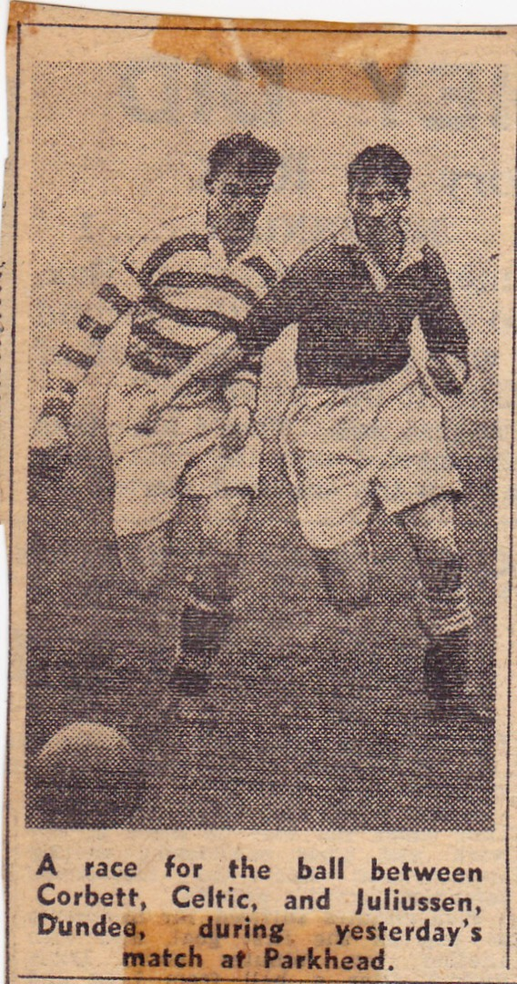 A race for the ball between Corbett, Celtic, and Juliussen, Dundee at Parkhead