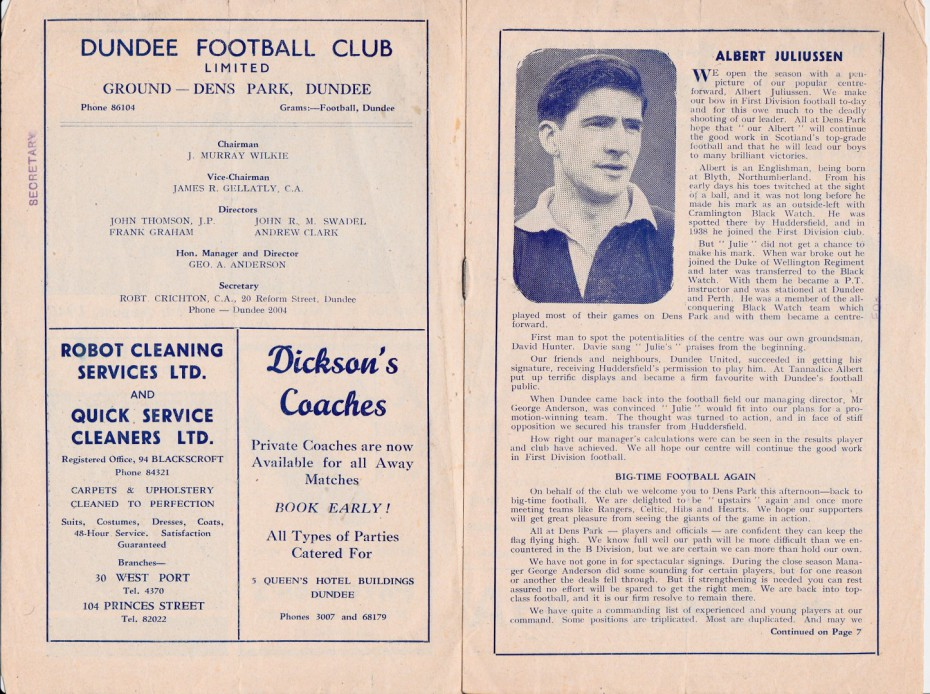 Dundee Football Team Program, No 1, August 9, 1947, Dundee v Third Lanark in the League Cup