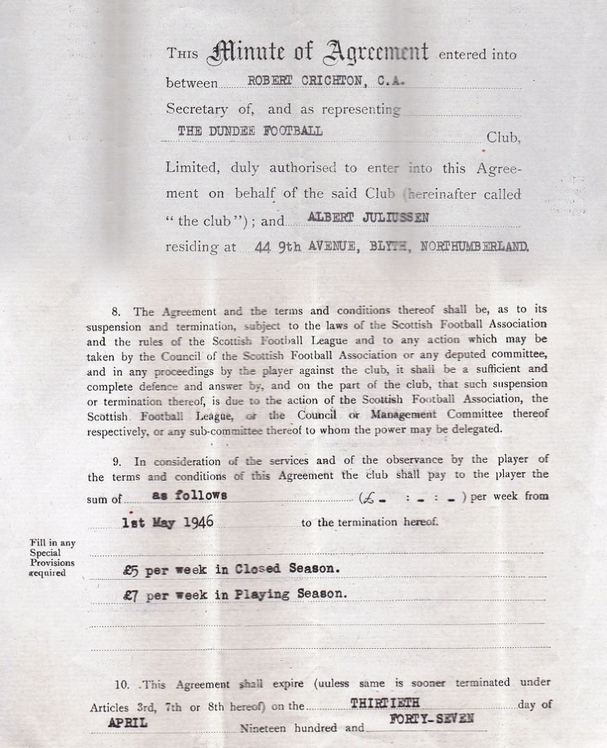The contract between Dundee Football Club and Albert Juliussen from 1946
