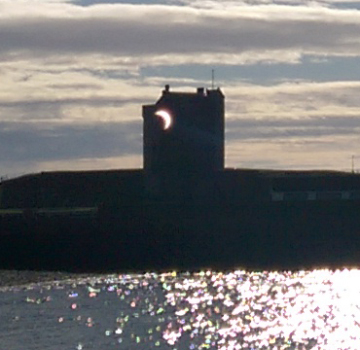 The eclipse projected onto Broughty Ferry Castle, Dundee