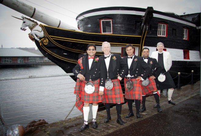 Wedding kilts at the Unicorn, Dundee