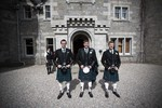 Groom and Best men and piper at Ardverikie House Estate