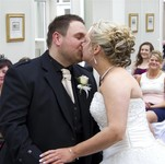 Bride and Groom kissing at Landmark Hotel Dundee