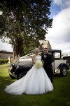 Bride and Groom with Vintage car at Landmark Hotel Dundee