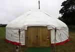Wedding Yurt showing Hobbit door