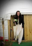 Bride coming out of yurt