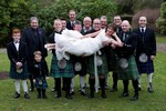 Bride with kilties at Invercarse Hotel, Dundee