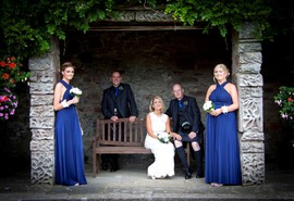 Bridal party at wedding at Guthrie Castle, near Forfar