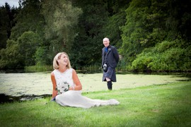Bride and Groom at wedding at Guthrie Castle, near Forfar