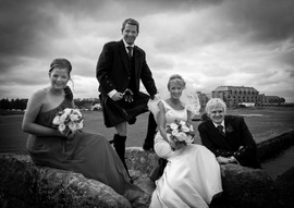 Bridal party at the Swilcan Bridge, The Old Course, St Andrews