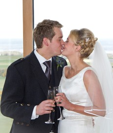 Bride and Groom at wedding at Old Course Hotel, St Andrews, Fife